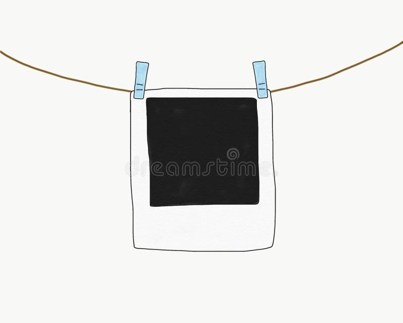 Cadre polaroïd de main d'aspiration de croquis abstrait de griffonnage d'isolement avec la corde sur le fond blanc, illustration, photographie stock