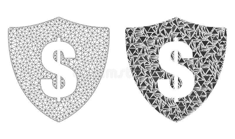 Cadre polygonal Mesh Dollar Shield de fil et icône de mosaïque illustration de vecteur