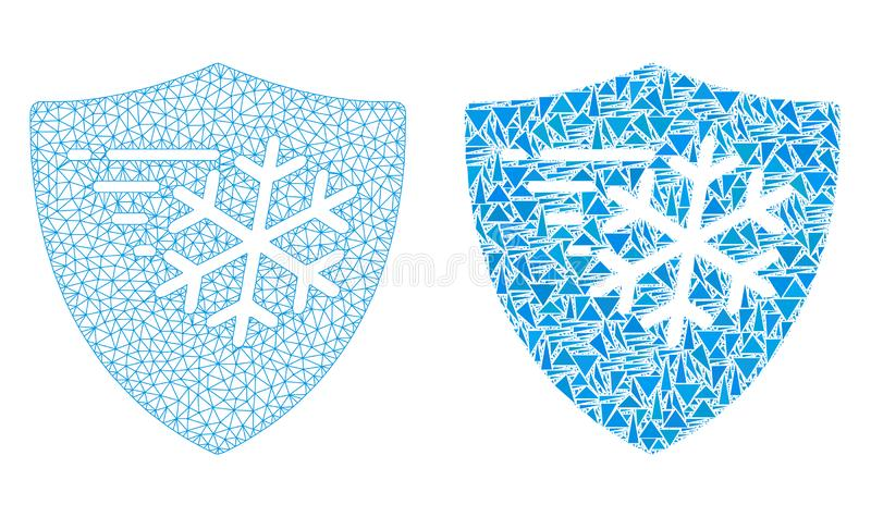 Cadre polygonal Mesh Frost Protection de fil et icône de mosaïque illustration libre de droits