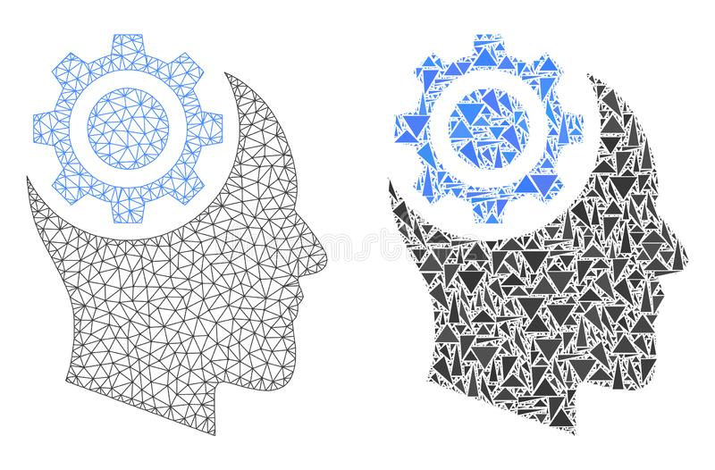 Cadre polygonal Mesh Human Intellect Gear de fil et icône de mosaïque illustration stock