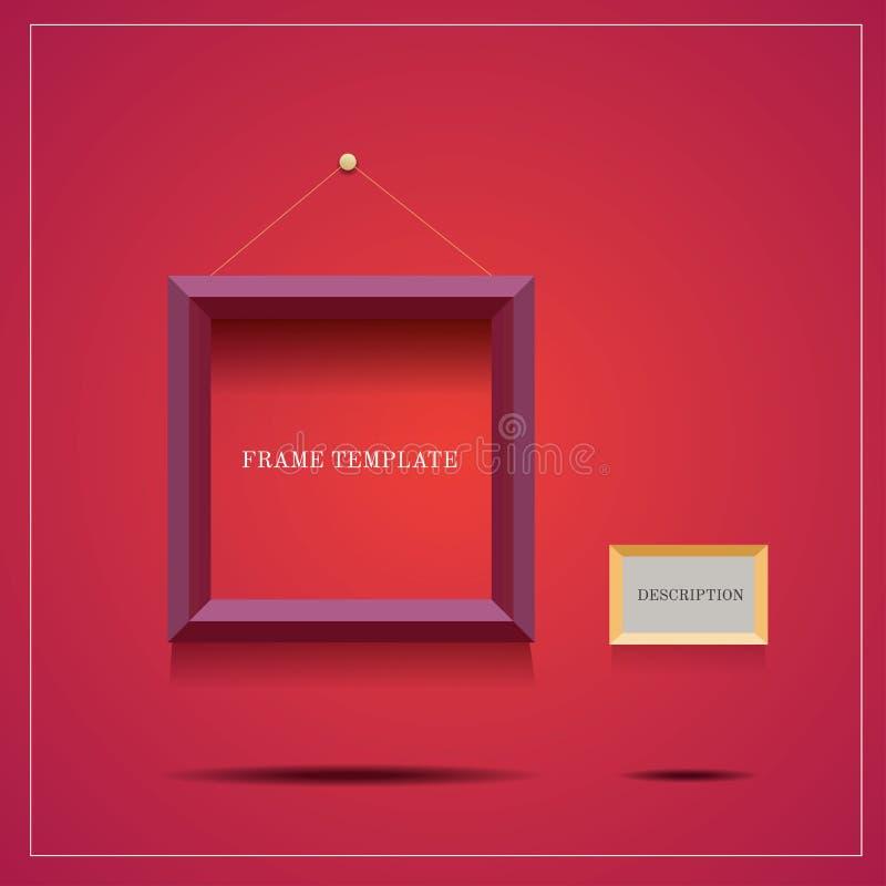 Cadre pourpre moderne carré avec le blanc de description sur le fond rouge illustration libre de droits