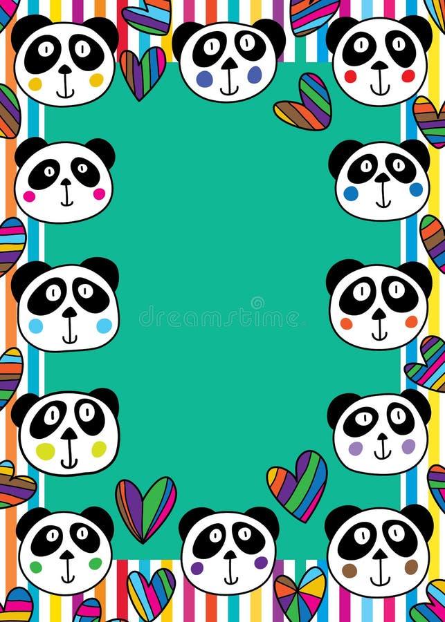 Cadre principal d'amour de panda illustration de vecteur