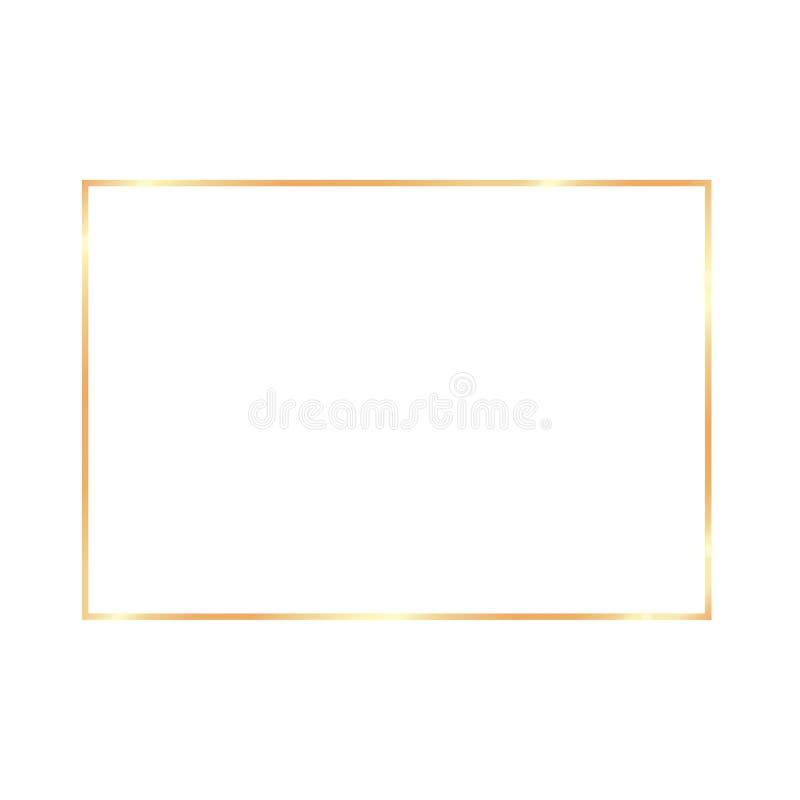 Cadre réaliste de cru d'or sur le fond transparent illustration stock