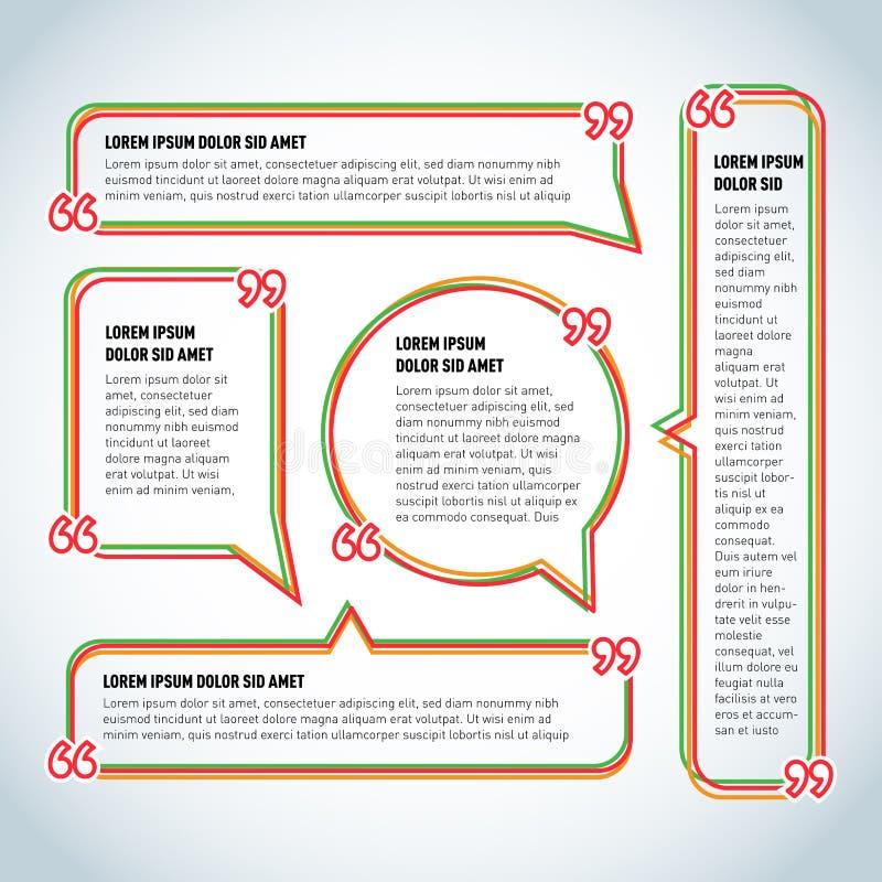 Cadre réglé de citation de vecteur avec des virgules, ballon de la parole, cadres colorés de signe de dialogue de citation pour l illustration libre de droits