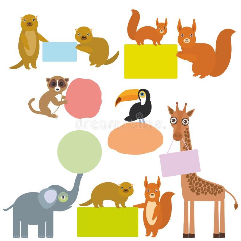 Cadre réglé par animaux mignons pour votre texte Ensemble de girafe drôle d'éléphant de toucan de lémur d'écureuil moulu de Gophe illustration stock