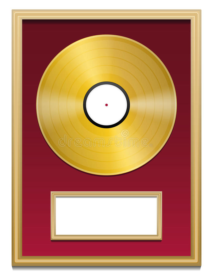 Cadre record de blanc de plaque d'or illustration libre de droits