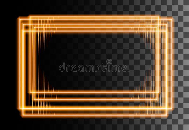 Cadre rectangulaire abstrait style néon Cadre d'effet jaune Bordure brillante Illustration sur fond transparent images libres de droits