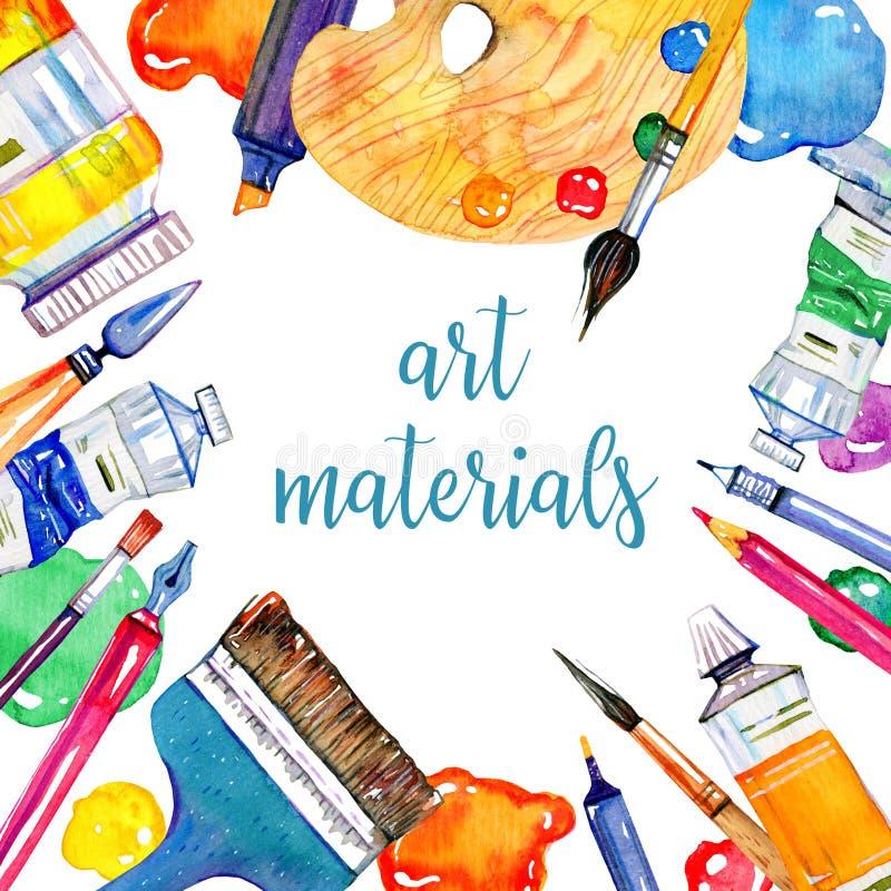 Cadre rectangulaire avec des matériaux d'artiste - palette, stylos, couteau de palette, brosses et tubes illustration libre de droits