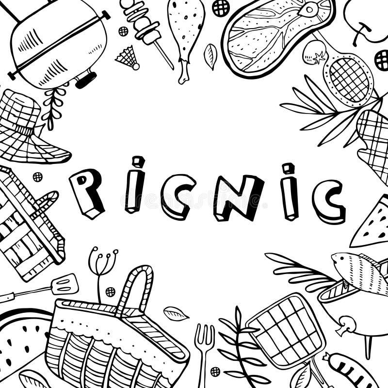 Cadre rectangulaire avec le pique-nique, été mangeant, jardinage et objets de barbecue Illustration de croquis de vecteur d'ensem illustration libre de droits
