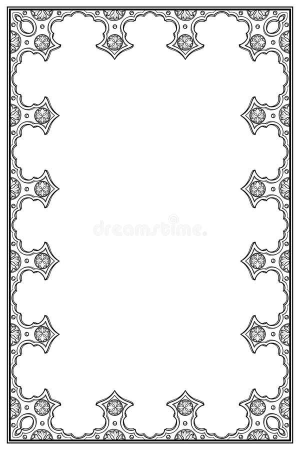 Cadre rectangulaire de style médiéval de manuscrit Orientation verticale illustration stock