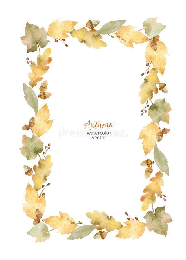 Cadre rectangulaire de vecteur d'aquarelle des feuilles et des branches d'isolement sur le fond blanc illustration de vecteur