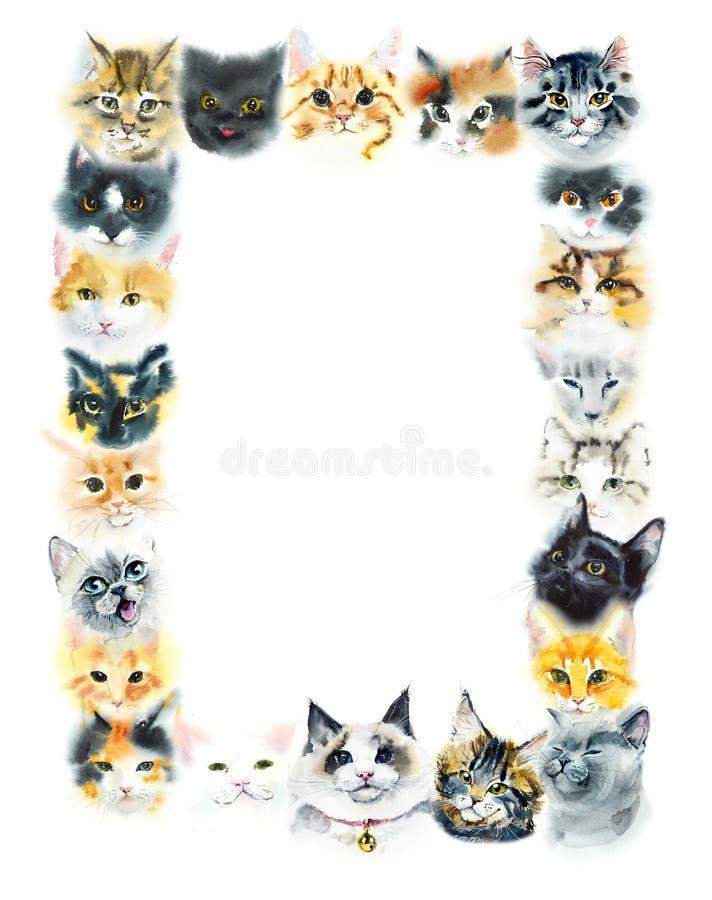 Cadre rectangulaire des chats domestiques Illustration tirée par la main d'aquarelle illustration stock