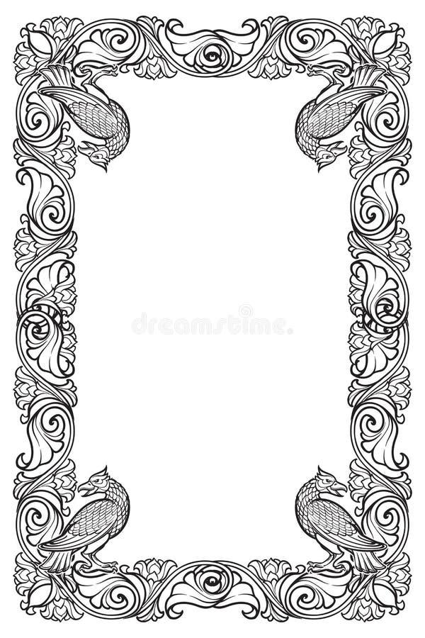 Cadre rectangulaire floral avec des oiseaux Frontière décorative de style de conte de fées Orientation verticale Rebecca 36 illustration de vecteur