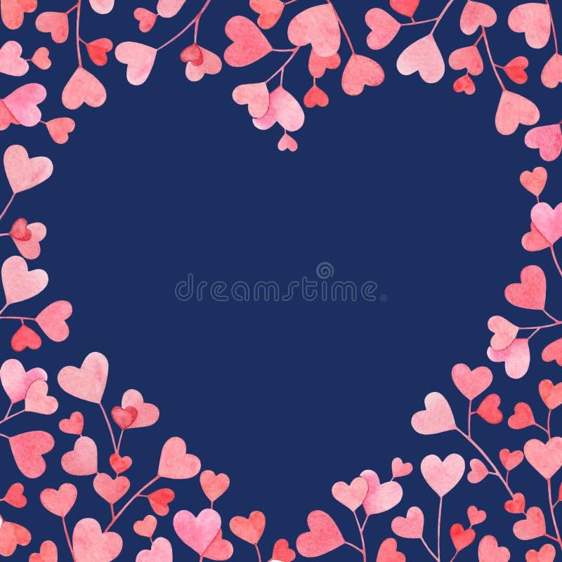 Cadre romantique avec les branches tirées par la main d'aquarelle avec les feuilles en forme de coeur roses sur le fond blanc illustration de vecteur