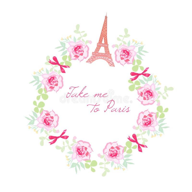 Cadre romantique de conception de vecteur de Paris Groupes de Rose, arcs, Eiffel t illustration stock