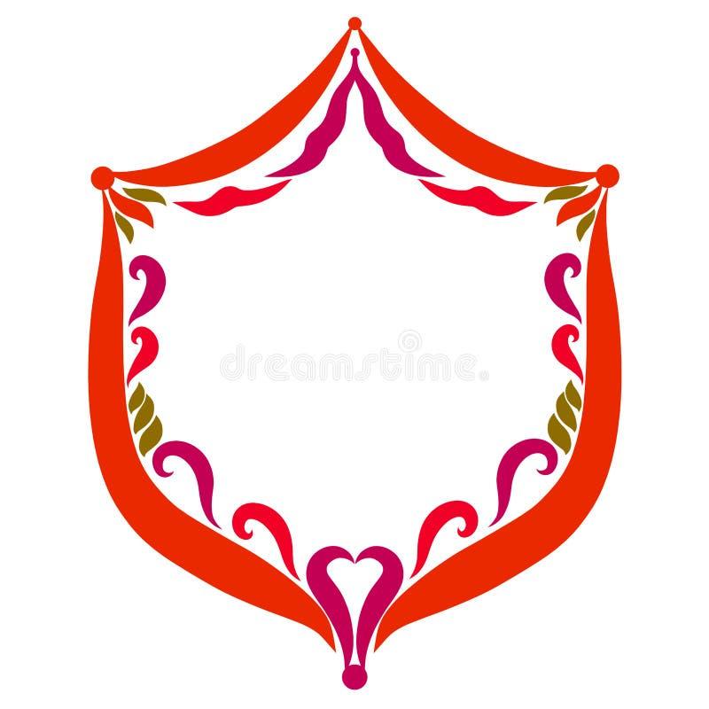 Cadre romantique sous forme de bouclier avec un modèle illustration de vecteur