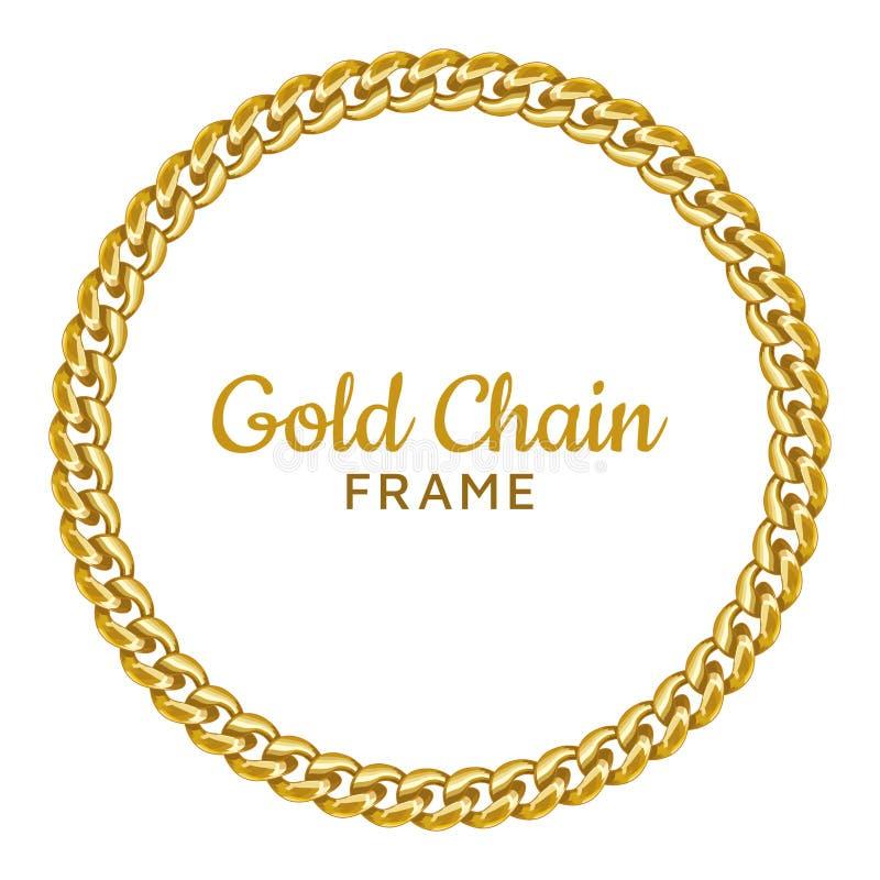 Cadre rond à chaînes d'or de frontière Forme sans couture de cercle de guirlande illustration libre de droits