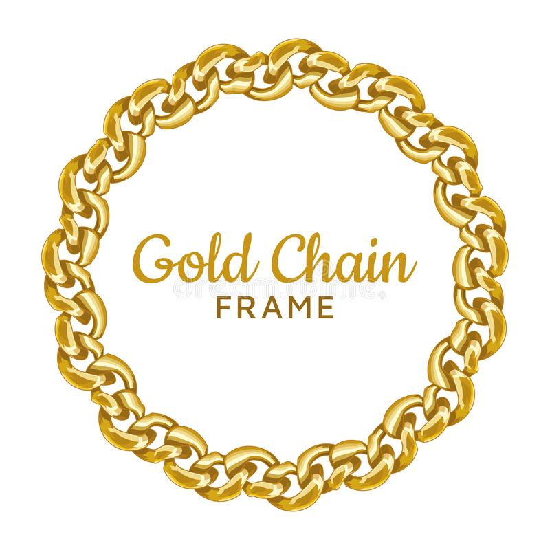 Cadre rond à chaînes de frontière d'or Forme onduleuse de cercle de guirlande Image de bijoux illustration de vecteur