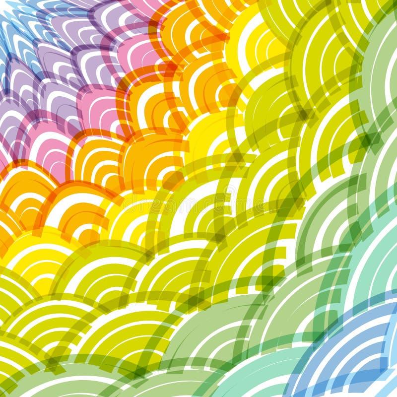 Cadre rond abstrait d'arc-en-ciel de composition en guirlande fond simple d'arc-en-ciel de nature avec le vert asiatique Oran jau illustration libre de droits