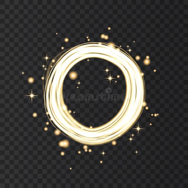 Cadre rond au néon d'or avec des effets de la lumière illustration de vecteur