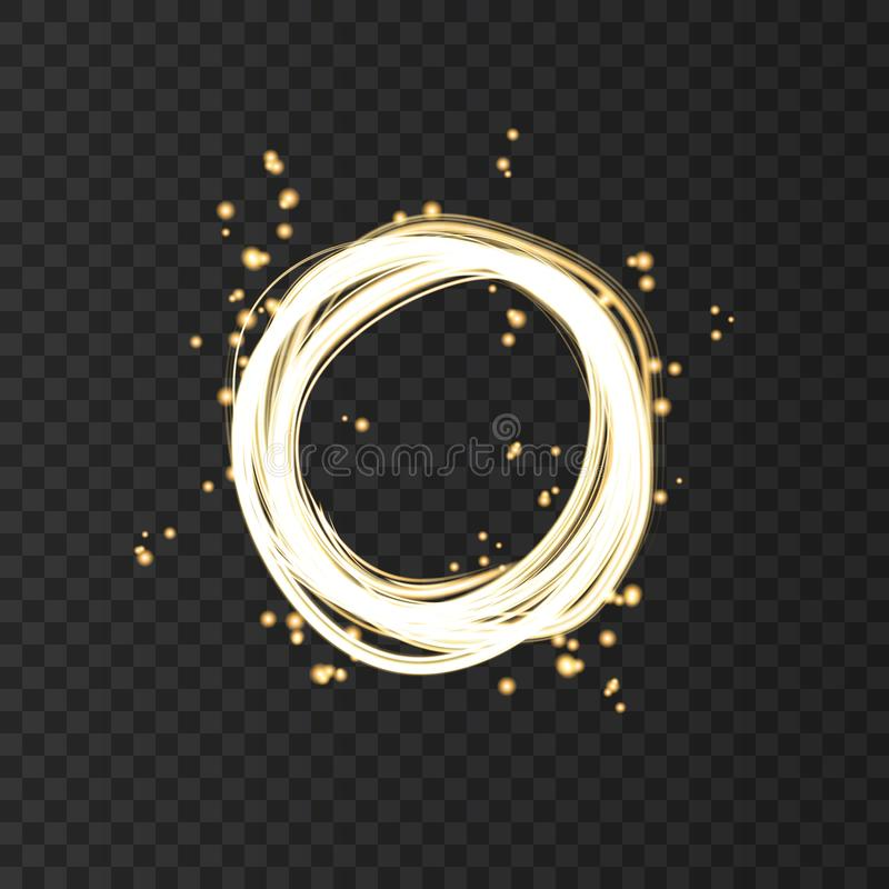 Cadre rond au n?on d'or avec des effets de la lumi?re illustration de vecteur