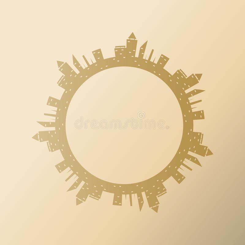 Cadre rond avec des bâtiments de ville Dirigez l'illustration de la ville abstraite avec l'endroit pour le texte Élément décorati illustration libre de droits