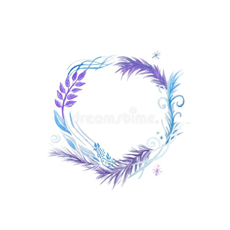 Cadre rond avec des brins et des éléments abstraits dans des couleurs froides illustration stock
