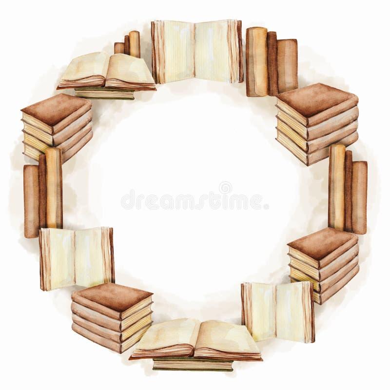 Cadre rond avec des livres, peinture d'aquarelle illustration de vecteur