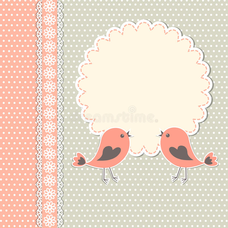 Cadre rond avec deux oiseaux illustration libre de droits