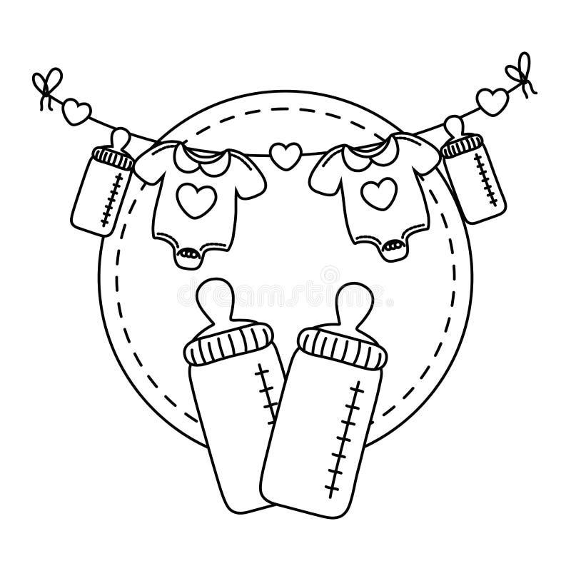 Cadre rond avec le biberon en noir et blanc illustration libre de droits