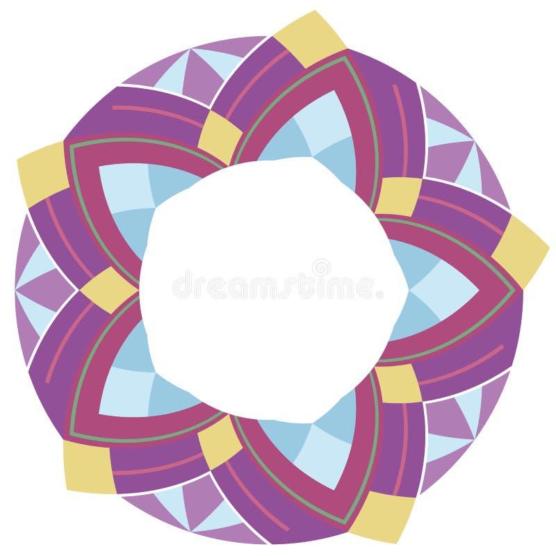 Cadre rond avec le modèle géométrique ethnique Ornement indigène illustration stock