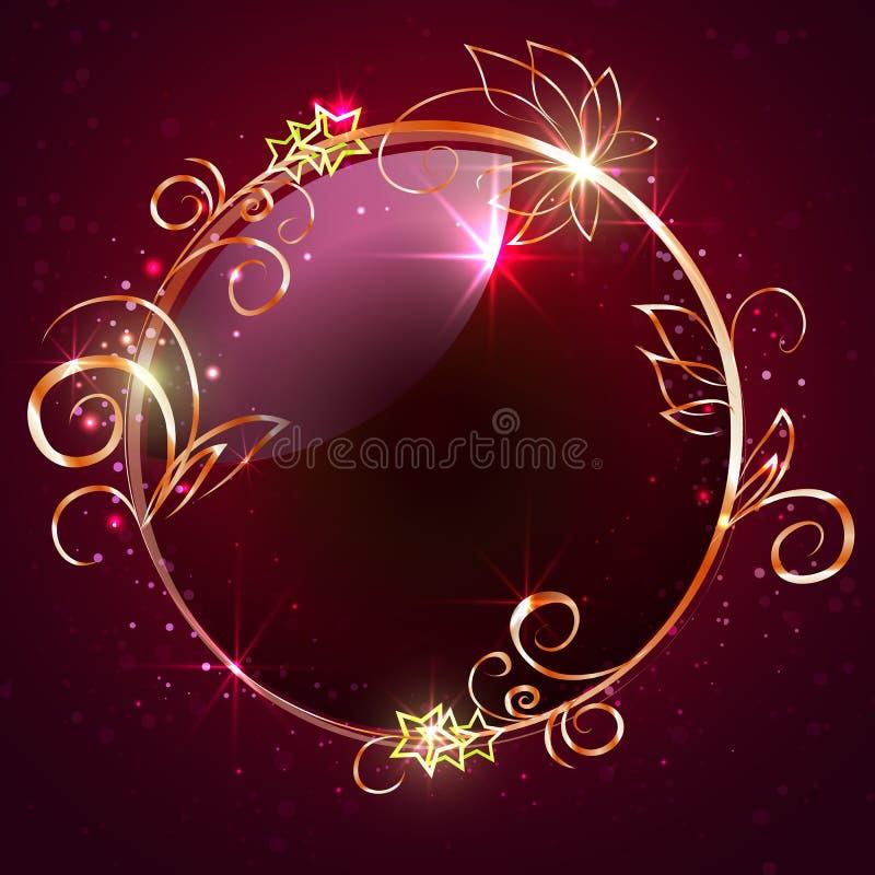 Cadre rond avec les éléments décoratifs illustration stock