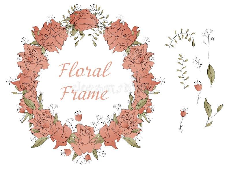 Cadre rond avec les éléments floraux stylisés illustration de vecteur