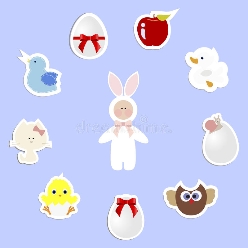 Cadre rond avec un ensemble d'autocollants de bébé pour Pâques descripteur illustration stock