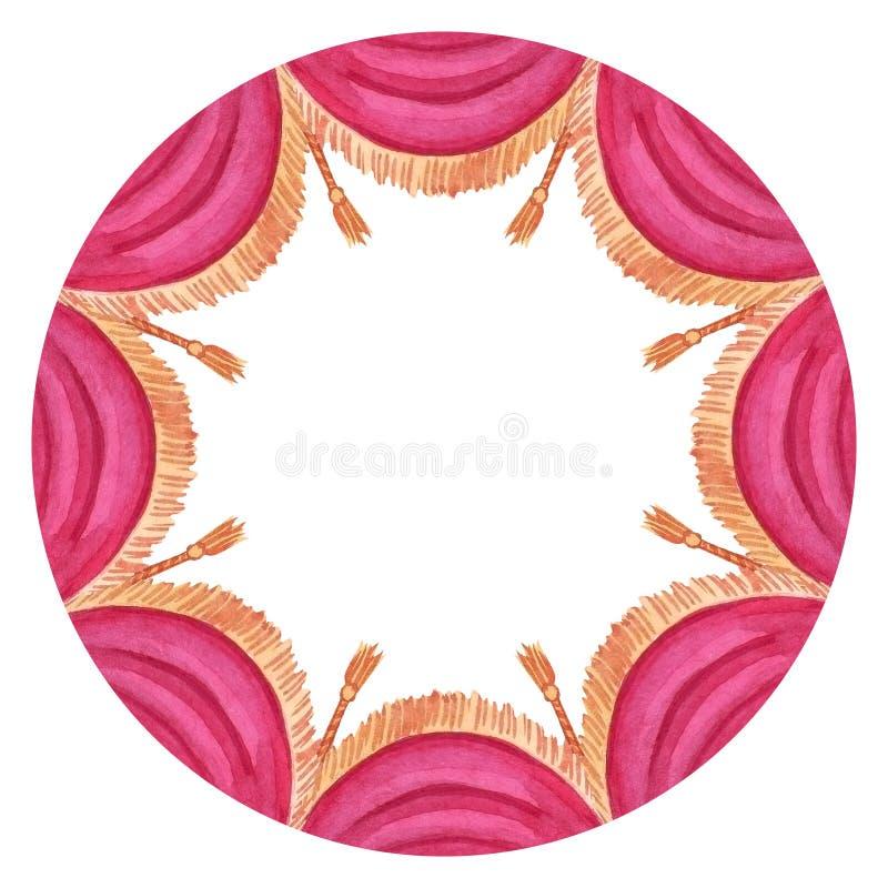 Cadre rond d'aquarelle avec le rideau rouge en cirque illustration libre de droits