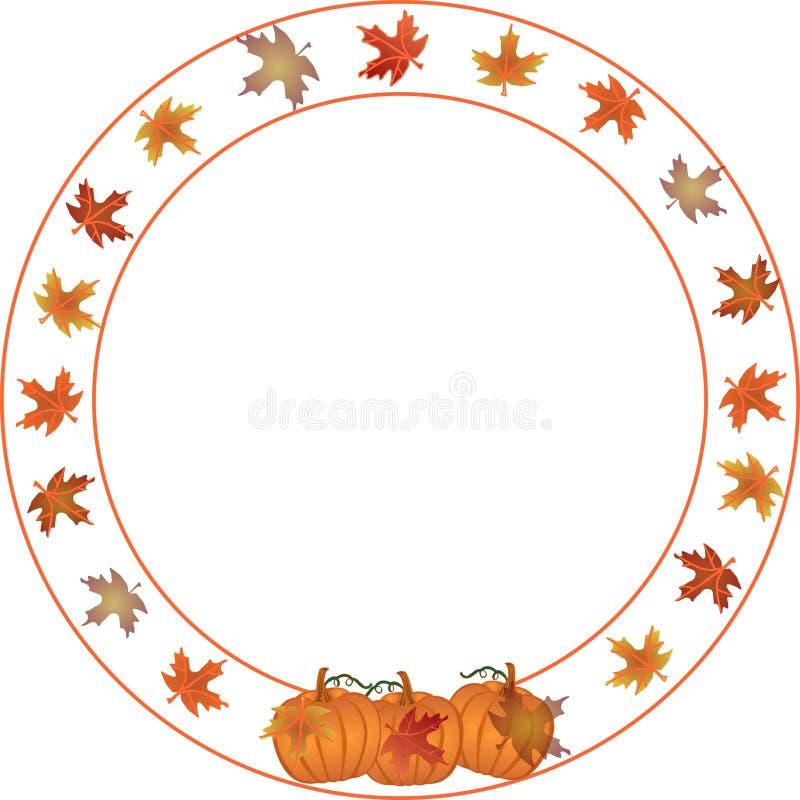 Cadre rond d'automne et de potiron. illustration libre de droits