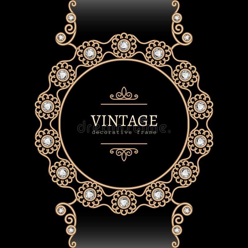 Cadre rond de bijoux d'or illustration stock