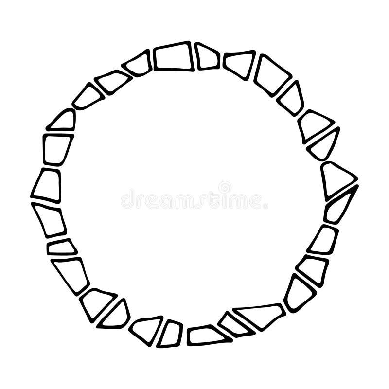 Cadre rond de main de résumé de vecteur monochrome géométrique de drawwn illustration de vecteur