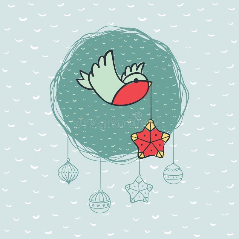 Cadre rond de Noël et de nouvelle année avec le symbole d'oiseau Carte de voeux illustration de vecteur