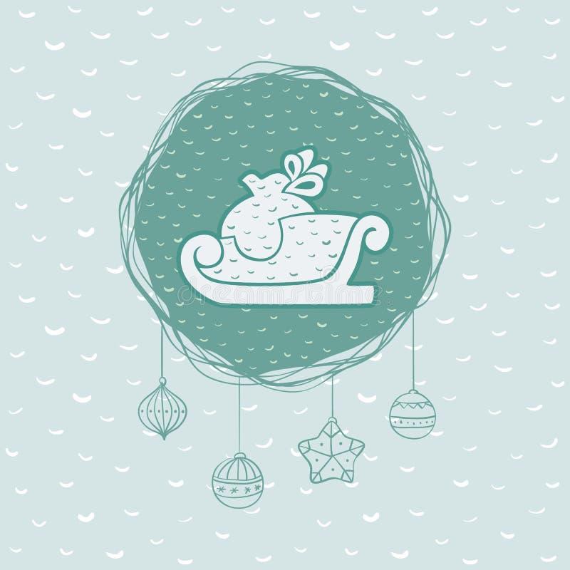 Cadre rond de Noël et de nouvelle année avec le symbole de traîneau Carte de voeux illustration de vecteur
