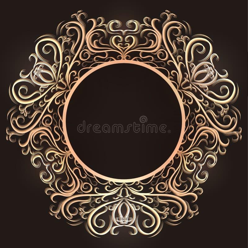 Cadre rond de vintage d'or avec le filigrane L'objet est séparé du fond illustration stock
