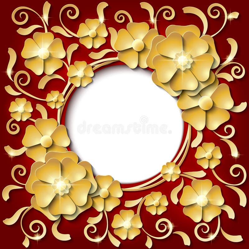Cadre rond de vintage de luxe avec des fleurs coupées de papier de l'or 3d illustration libre de droits