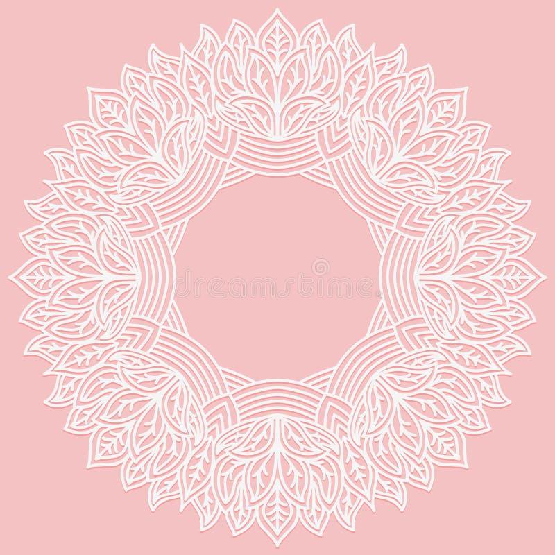 Cadre rond de Zenart avec le modèle des feuilles Chiffre découpé par dentelle sur le fond rose Modelez approprié à la coupe de la illustration stock