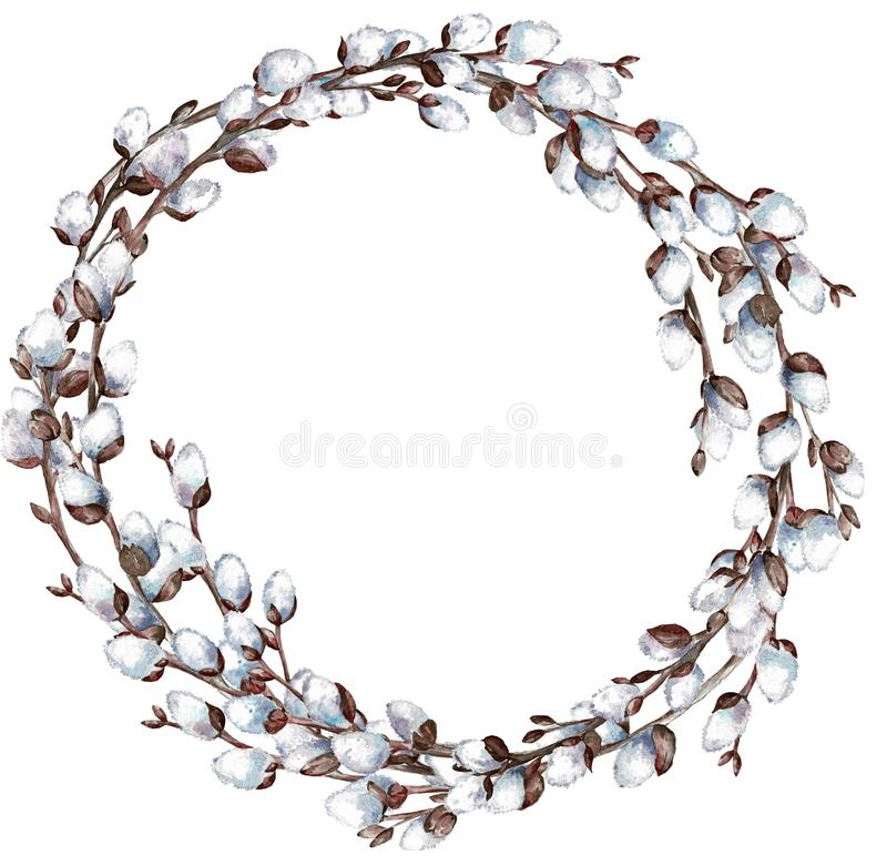 Cadre rond des branches tordues de saule Guirlande de Pâques d'isolement sur le fond blanc illustration libre de droits