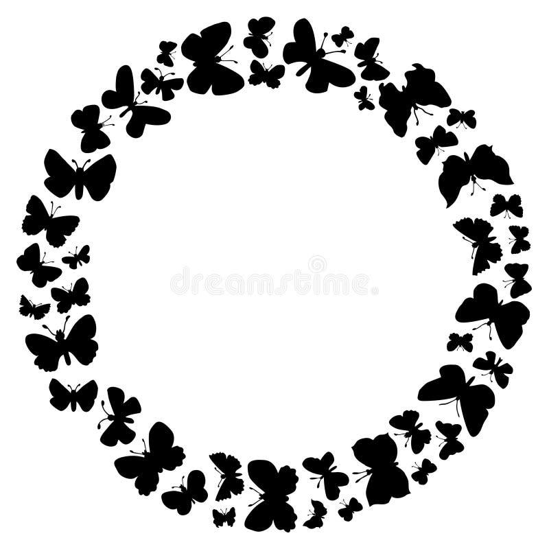 Cadre rond des papillons de vol illustration stock