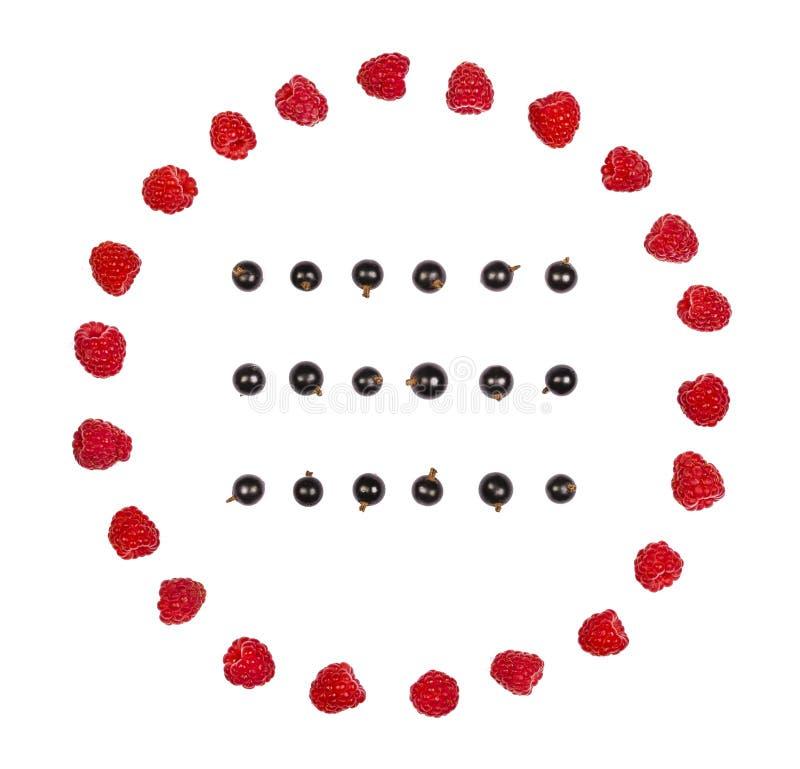 Cadre rond fait de framboise et rangées de cassis d'isolement sur le fond blanc Configuration plate images libres de droits