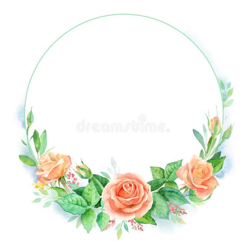 Cadre rond floral d'aquarelle avec des roses, feuilles d'isolement sur le fond blanc Carte de voeux ou invitation florale illustration libre de droits