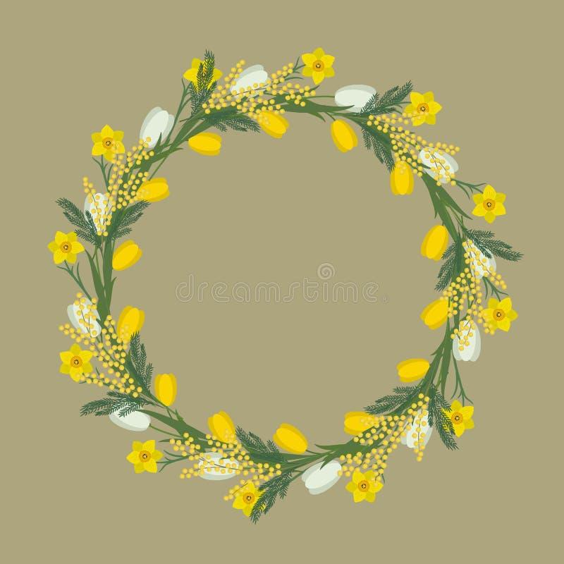 Cadre rond floral des fleurs de ressort Fleurs jaunes et blanches des tulipes, des jonquilles et de la mimosa sur un fond beige illustration de vecteur