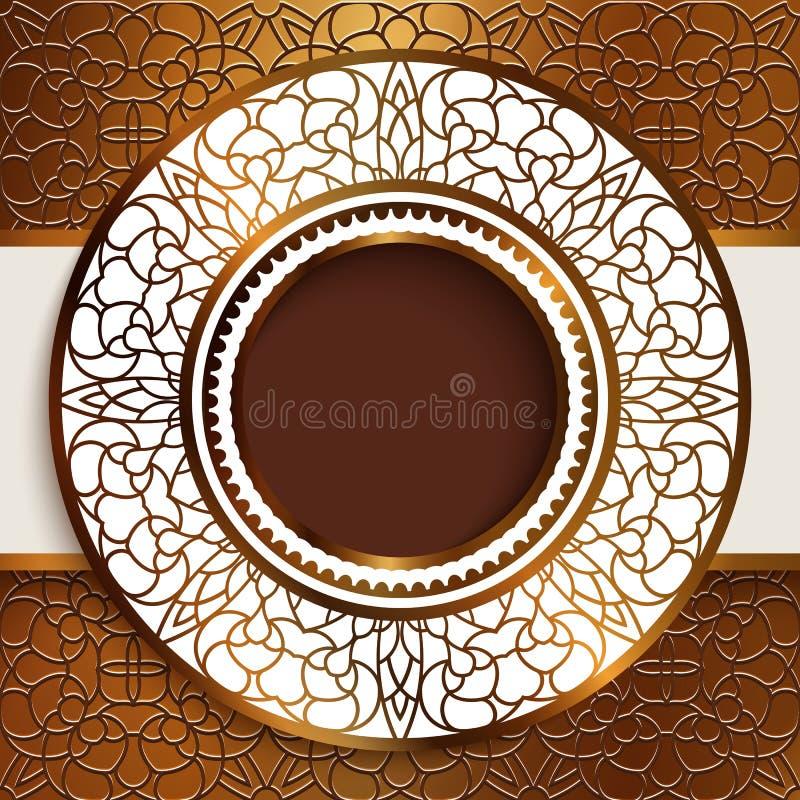 Cadre rond sur le fond d'ornamental d'or illustration stock