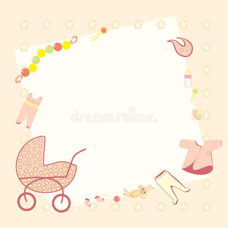 Cadre rose avec l'habillement, les jouets, les hochets et le landau du bébé image stock
